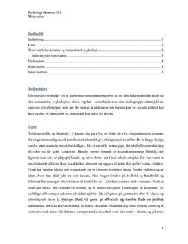 Motivation psykologi | Eksamensopgave