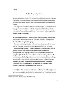 Engelsk intern eksamen om lingua franca