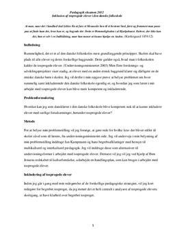 Inklusion af tosprogede elever i den danske folkeskole