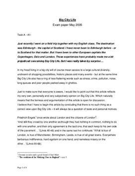 Big City Life   Exam paper