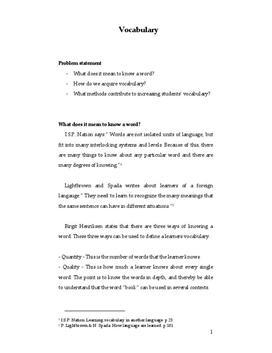 Vocabulary | Synopsis