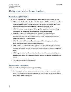 Reformatoriske Hovedtanker | Synopsis