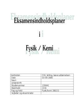 Eksamensindholdsplaner i Fysik og Kemi
