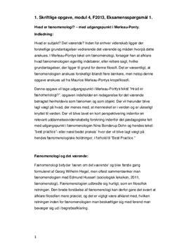 Fænomenologi | Redegørelse